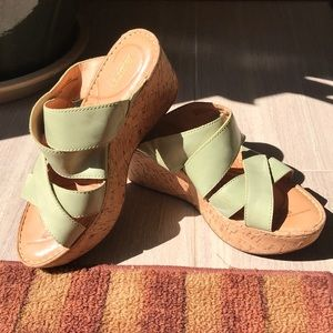 Born handcrafted leather slip on sandals